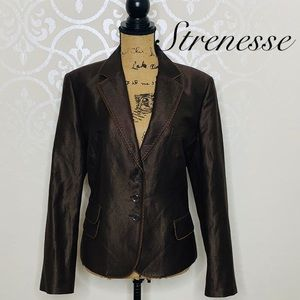 STRENESSE SIZE 12 BROWN AND IVORY BLAZER